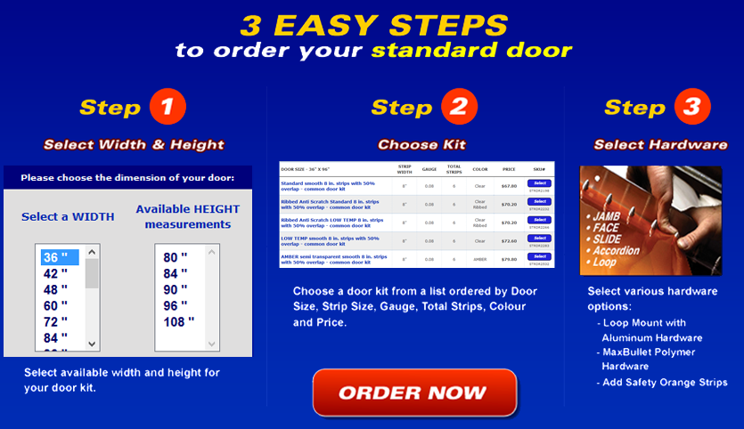 3 easy steps to order your standard strip door